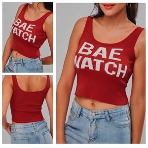NWT! Graphic Knit Red Tank Top Bae Watch